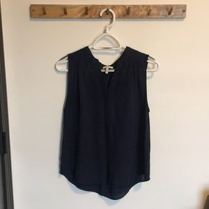 Joie Navy Button Down Sleevless Silk Blouse Small